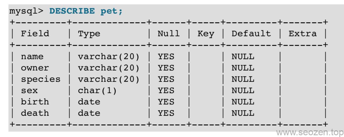 mysql-describe-table
